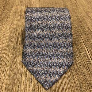 Hermès Tie Blue chain link 7958 EA 100% silk soie